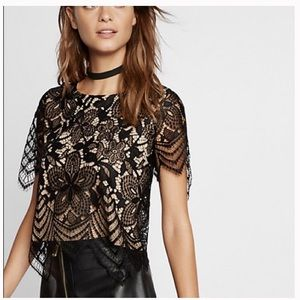 Express all over floral lace top. Size S